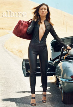 Olivia Wilde poses in a tight catsuit