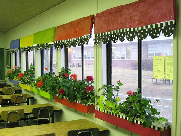 Decorating A Space Themed Classroom ~ A green view through classroom window can improve