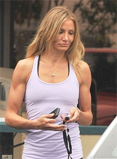 Cameron diaz goes for a workout at gym before the party